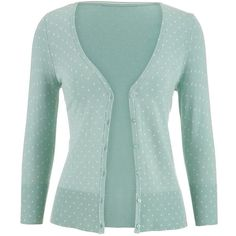 maurices The Classic Cardi In Dot Print ($34) ❤ liked on Polyvore featuring tops, cardigans, outerwear, sweaters, casaco, frozen lake, dot cardigan, maurices, 3/4 sleeve tops and polka dot top