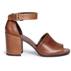 Stuart Weitzman 'Soho Gal' calfskin leather sandals ($425) ❤ liked on Polyvore featuring shoes, sandals, heels, brown, brown block heel sandals, boho shoes, summer shoes, summer footwear and calfskin shoes