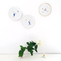 Waiter illustrated plate by Lookatmeplates on Etsy