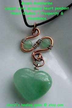 Green Aventurine Wire Wrapped Heart Pendant Copper Wire Necklace, Semi-Precious Stones, Love,Harmony, Peace, Balance, Gift Idea, via Etsy