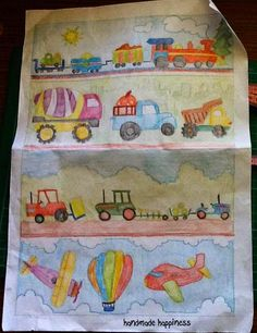 Amazing Boy's quilt for Tigger's third birthday with train, construction vehicles, tractors and planes. Full fo vibrant colours.