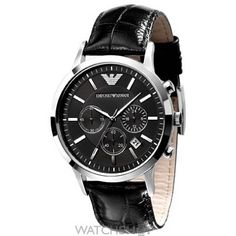 Emporio Armani Chronograph Black Dial Black Leather Men's Watch – Black Leather Watch, Mens Watches Leather, Leather Men, Classic Leather, Patent Leather, Gents Watches, Cool Watches, Watches For Men, Emporio Armani Mens Watches
