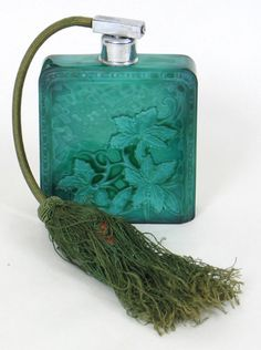 ART DECO MALACHITE GLASS PERFUME BOTTLE