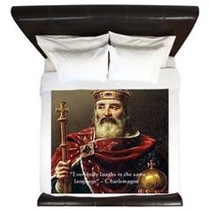 #Charlemagne & #Laughing #Quote King #Duvet Cover @RLondonGifts #cafepress @pinterest #gift #bedandbath #sale