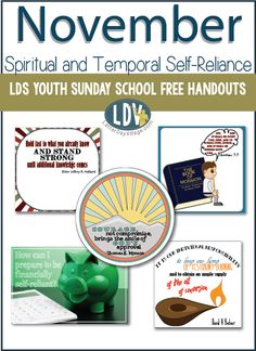 Free LDS Youth Sunday School handouts for November Latter Days, Latter Day Saints, Lds Sunday School, Lds Youth, Self Reliance, Follow Me, Teacher Resources, Spirituality