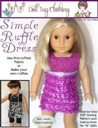 Register on website for free ruffled dress pattern.