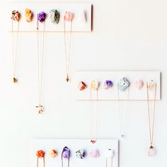 Keep your necklaces tangle-free by hanging them on this easy-to-make crystal jewelry rack.