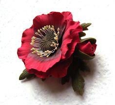 Polymer clay jewelry red poppy brooch.. $47.00, via Etsy.