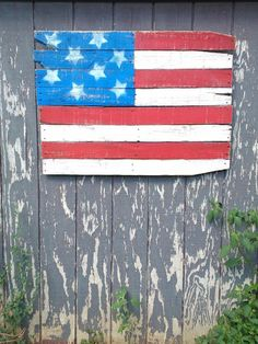 Rustic Upcycled Pallet wood American Flag
