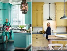 fun kitchen colors...    love the brick floor too and the subway running all the way up