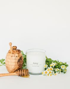 Taste the sweet scent of wild honey and breathe in wild flowers. Our honey soy-blend candle is back in stock!