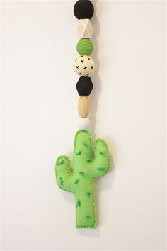Cactus wooden bead garland nursery decor / felt cactus wall decor baby /