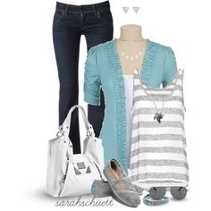 White and silver with a pop of Aqua by sarahschuett on Polyvore
