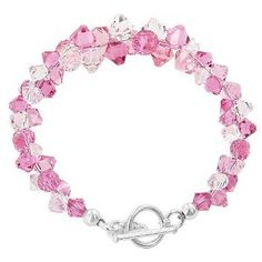 """Amazon.com: SCBR011 .925 Sterling Silver Pink and Clear Austrian Swarovski Crystals 7.5"""" Bracelet Toggle Clasp MADE WITH SWAROVSKI ELEMENTS: Jewelry"""