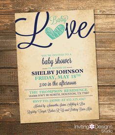 Baby Love Invitation, Baby Shower, Baby Girl, Baby Boy, Navy Blue, Mint Green, Heart, Rustic, Vintage (PRINTABLE FILE by InvitingDesignStudio on Etsy