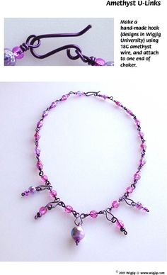 Amethyst U-Links Wire and Beads Necklace made using WigJig jewelry making tools and jewelry supplies.