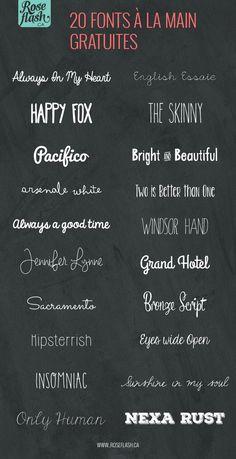 20 fonts à la main gratuites!                                                                                                                                                      Plus