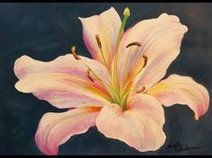 (2) LILY Acrylic Painting Tutorial LIVE Step by Step Flower Fine Art Lesson - YouTube