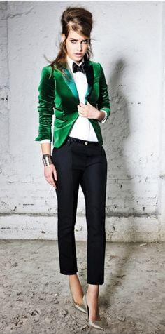 Blazer de terciopelo verde esmeralda