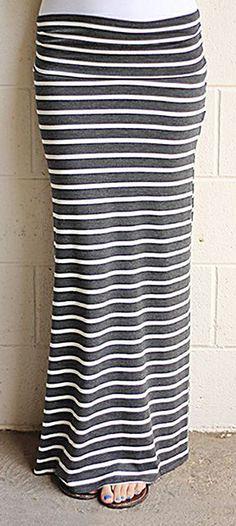 Comfy Stretchy Striped Maxi Skirt
