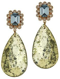 Mawi Blue Yellow Glitter Teardrop Earrings