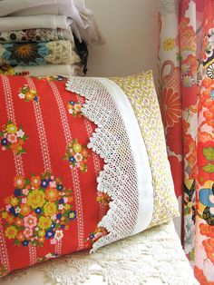 Flowery: Stripe + Flowers  I think this would be a great way to reuse some of the gorgeous vintage pillowcases I have.