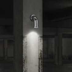 Pipeline Outdoor Wall Light - Steel from Lighting Direct. Outdoor Wall Lamps, Outdoor Walls, Luminous Intensity, Fluorescent Lamp, Direct Lighting, Emergency Lighting, Glass Diffuser, Light Fittings, Rome