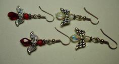 Angel Earrings 2 pairs, Clear Earrings Red Earrings. Swarovski Crystals | eBay