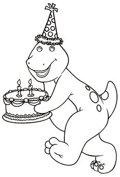 barney bringing a birthday cake coloring pages for kids printable barney coloring pages for kids