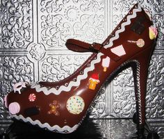 gingerbread holiday sweet shoes with kawaii sweets, crystal rhinestones and glittered soles