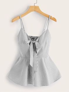 To find out about the Plus Striped Tie Ruffle Hem Shirred Cami Top at SHEIN, part of our latest Plus Size Tank Tops & Camis ready to shop online today! Casual Skirt Outfits, Summer Outfits, Cute Outfits, Striped Cami Tops, Fashion News, Fashion Outfits, Fashion Styles, Plus Size Tank Tops, Mode Style