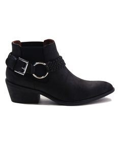 Black Ring-Accent Ankle Boot