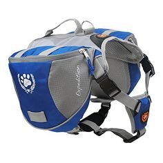 Mypet Outdoor Adjustable Dog Saddle Bag Large Capacity Dog Backpack with Reflective Stripe (Blue, Large) - http://www.thepuppy.org/mypet-outdoor-adjustable-dog-saddle-bag-large-capacity-dog-backpack-with-reflective-stripe-blue-large/