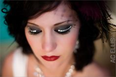 Modern South Dakota Wedding - Red and Teal - Peacock Headpiece - Glamorous eyes - smokey with rhinestones wedding hair and makeup by @Angelique Verver