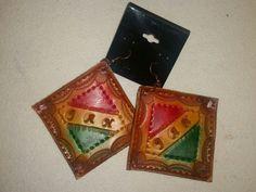 2 1/2 x 2 1/2 leather earrings