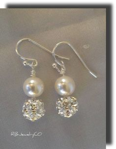 Swarovski Crystal and Pearl Earrings/gift/wedding. $22.00, via Etsy. Bridesmaid gift?