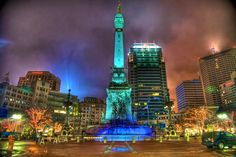 Monument Circle in downtown Indianapolis was brightly lit in the days leading to Super Bowl XLVI at Lucas Oil Stadium in Indianapolis. This photo was taken at 2:00am in the hours just before Super Bowl XLVI 46 took place between the New York Giants and the New England Patriots at Lucas Oil Stadium in Indy.[...]