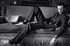 """Tom Hiddleston. One of the many pictures where the nickname """"Daddy Long Legs"""" is very fitting."""