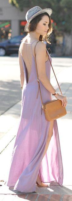 Lavander Split Maxi Inspiration Dress by Hapa Time