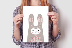 BUNNY rabbit print set #cute #bunny #rabbit #illustration #design #wallart #kidsroom #decoration #nursery #print
