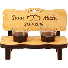 Wedding bench with shot glasses and personal engraving Wedding Bench, Schnapps, Two Hearts, Small Heart, Shot Glasses, Wedding Couples, Newlyweds, Dog Bowls, Big Day