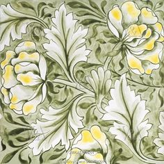 Peony tile, by Kate Faulkner. England, late 19th century
