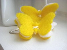 Lemon Meringue Felt Butterfly Hair Clips - Snap Clip - Hair Accessory