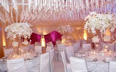 Events by Empty Vase / White Wedding + Crystal Ceiling Treatment