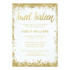 Sweet 16 Gold White Faux Glitter Birthday 5x7 Paper Invitation Card