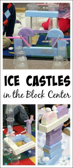 Frozen-inspired building activities for preschoolers - invitation to build ice castles in the block center!