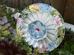 Plate Flower #512  Drought Resistant.          Garden Yard Art glass and ceramic plate flower