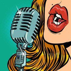 Radio Drawing, Singing Drawing, Music Drawings, Cartoon Drawings, Microphone Drawing, Pop Art Women, Pop Art Illustration, Retro Radios, Pop Characters