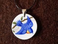 Blue Bird Pendant  (P43) Broken China Jewelry, Blue Bird, Ann, Pendant Necklace, Jewellery, Drop Earrings, Jewels, Schmuck, Drop Earring