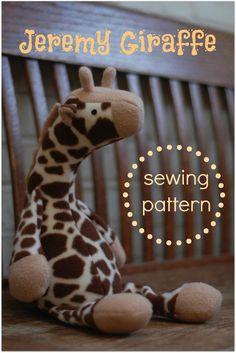 Jeremy Giraffe - PDF Sewing Pattern with Easy Instructions and Step-by-Step Photos Sewing Toys, Baby Sewing, Sewing Crafts, Sewing Projects, Sew Baby, Handmade Stuffed Animals, Sewing Stuffed Animals, Stuffed Toys, Animal Tails